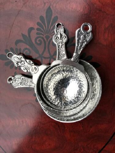 Crosby and Taylor Set of 4 Pewter Fleur de Lys Measuring Cups New