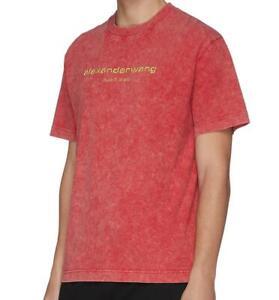 ALEXANDER-WANG-GOLD-LOGO-embroidered-acid-wash-NEW-YORK-OVERSIZED-T-shirt-TEE-M