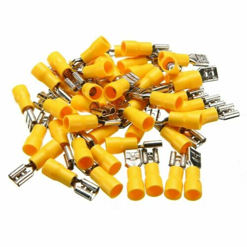 50pcs 10-12 AWG Insulated Female Spade Wire Crimp Terminal Connector Yellow New