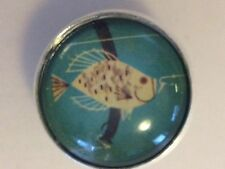 "Charley Harper Bass Fish Fishing 1"" Glass Dome Metal Sewing Button Charles HA8"