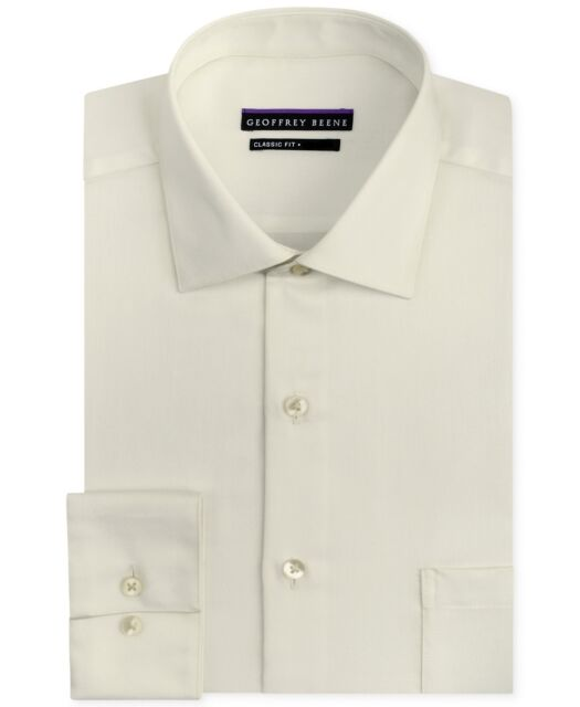 $95 Geoffrey Beene Men Classic-Fit Off-White Wrinkle-Free Dress Shirt 15.5 32//33