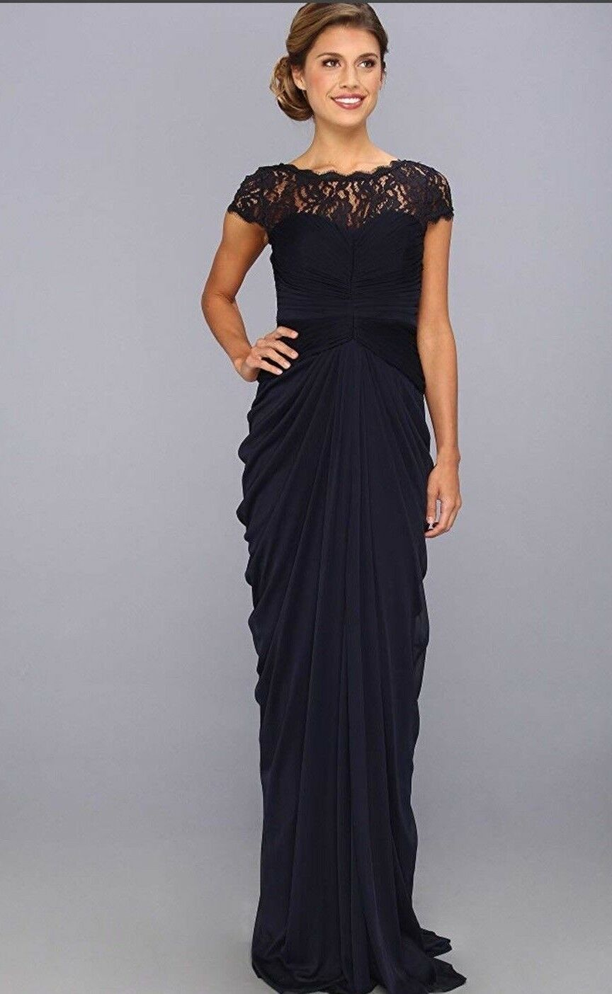 ADRIANNA PAPELL NAVY GOWN NEW WITH TAG INK SIZE 10 LENGTH 63  RETAIL