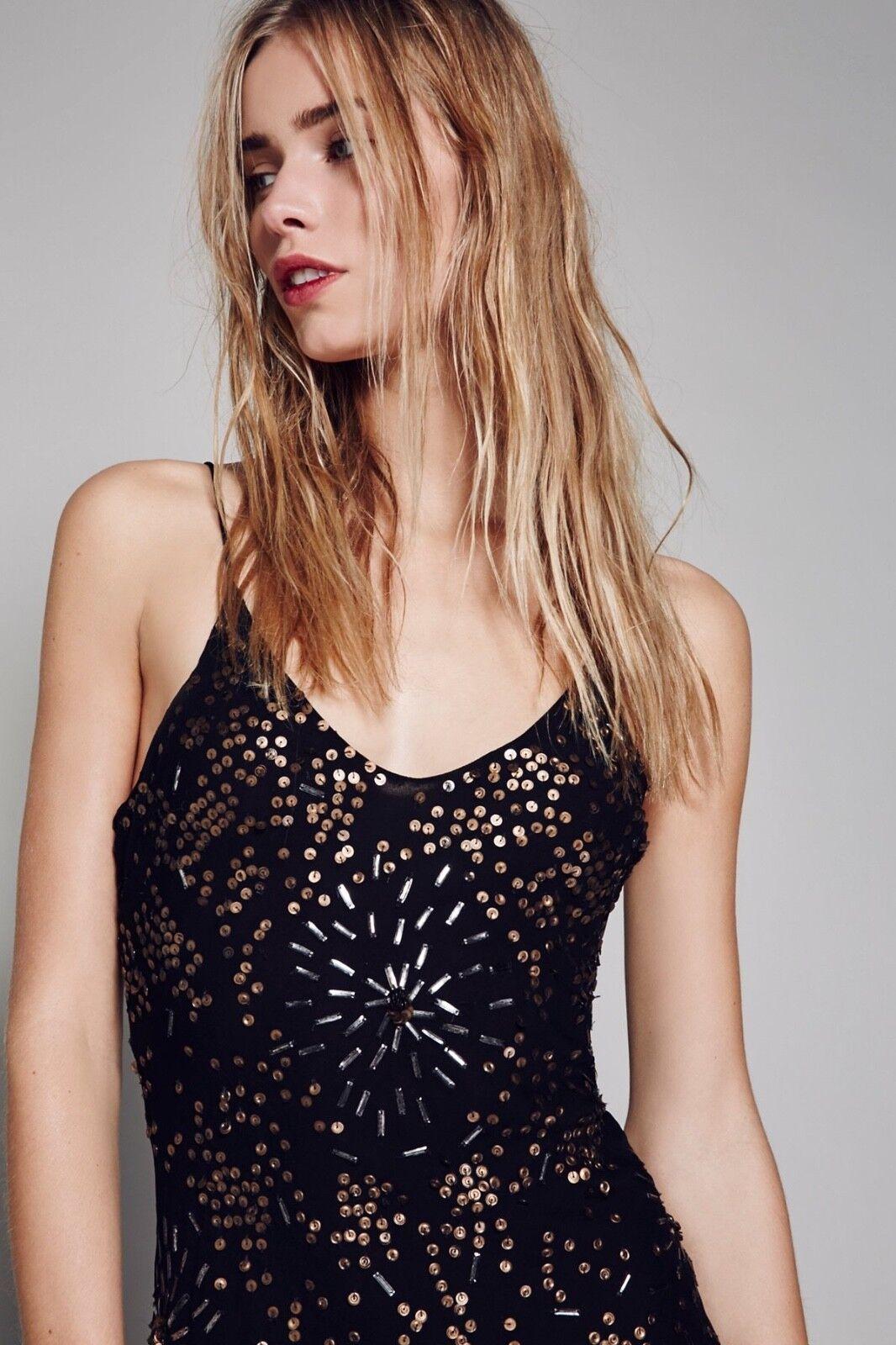 New  275.00 275.00 275.00 Free People Gaudi Slip Dress By Jen's Pirate Booty Medium  Caviar  40b63c