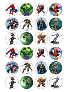 24 X Avengers Marvel Edible Cupcake Toppers Birthday Party