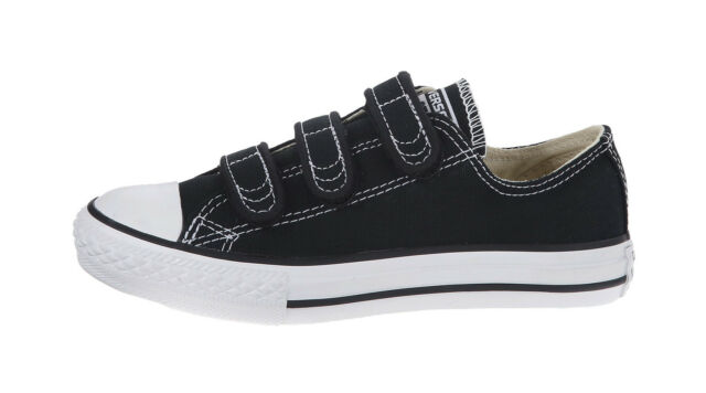 fef837986c6a CONVERSE Chuck Taylor All Star 3 Strap Low Black White Canvas Girls Shoes  3V603