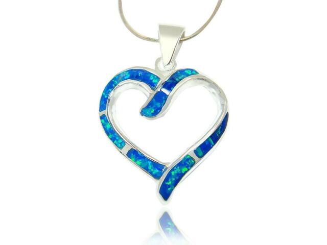925 Sterling Silver Hawaiian Blue Inlay Opal Gemstone Heart Love