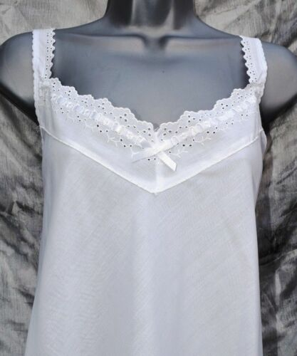 embroidery anglais trim Ladies poly cotton full slip in white with broad strap