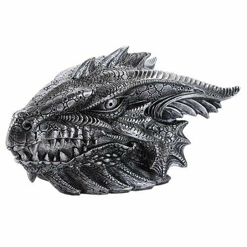 Medieval Fantasy Ferocious Pewter Color Dragon Head Treasure Trinket Box