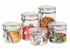 Oggi 5 Piece Acrylic Canister Set with Locking Clamps, New, Free Shipping