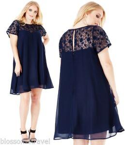 Goddiva-Navy-Sequin-Lace-Chiffon-Baby-Doll-Shift-Style-Party-Evening-Dress-16-26