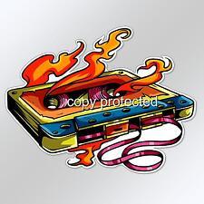 funny car bumper sticker music old skool cassette tape on fire decal 124 x 96mm