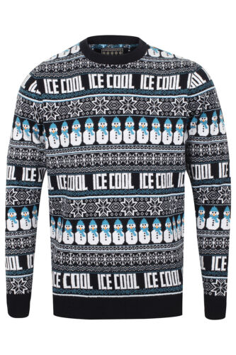 Seasons Greetings Mens Womens Ice Cool Festive Snowman Knitted Christmas Jumper