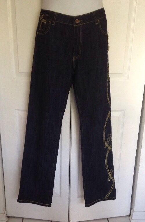 COOGI 1969 JEAN CLR L.T. WASH blueE gold CHAIN EMBROIDERED Sz 20  NWT  135