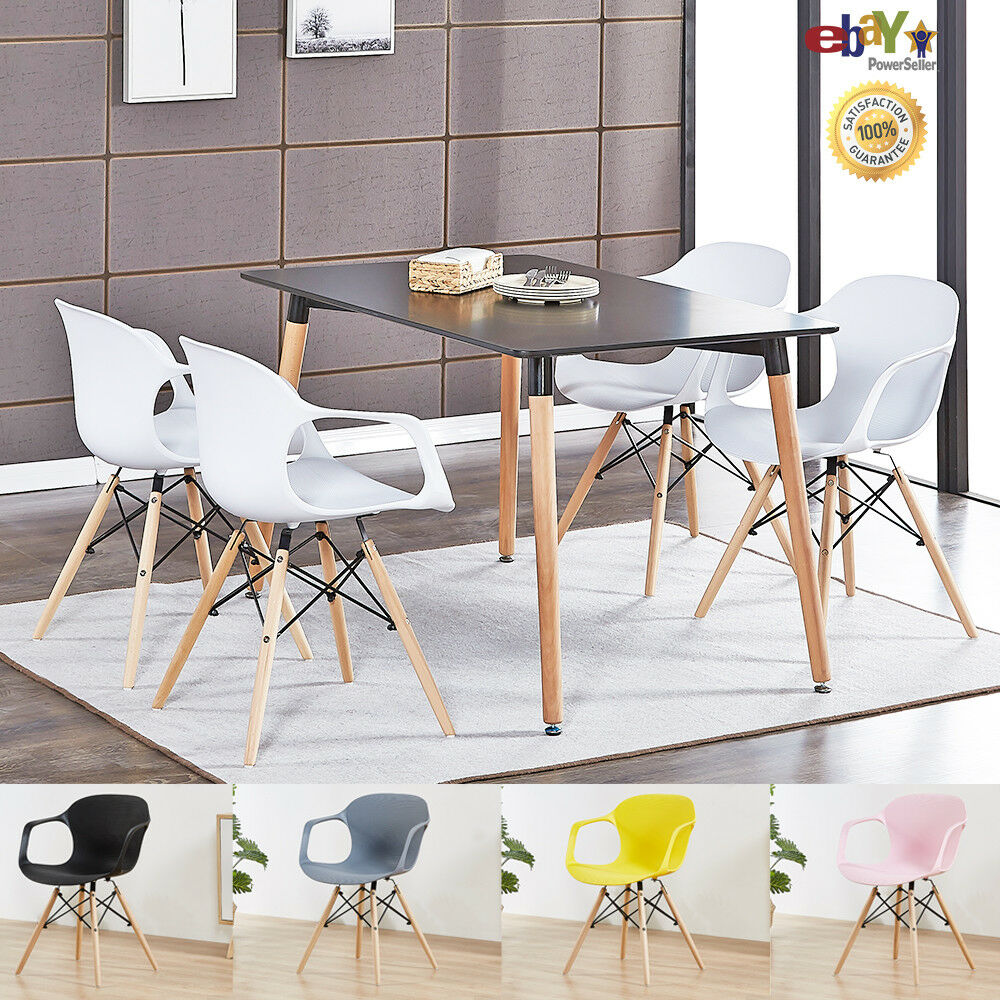 Details About 4 X Alecia Tub Eiffel Armchair And Black Dining Table Set Cafe Restaurant Salon