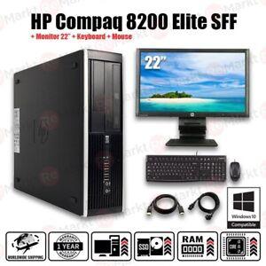 """Pc set HP Compaq 8200 SFF Core i5 8 Go RAM 120 Go SSD 500 Go HDD + moniteur 23"""" FHD"""