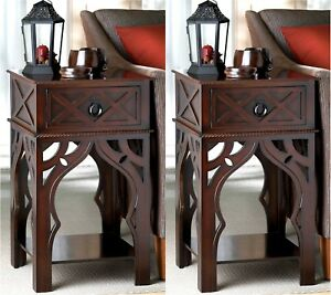Details About Set Of 2 25 Moroccan Style Side End Or Night Table W Drawer Shelf Nib