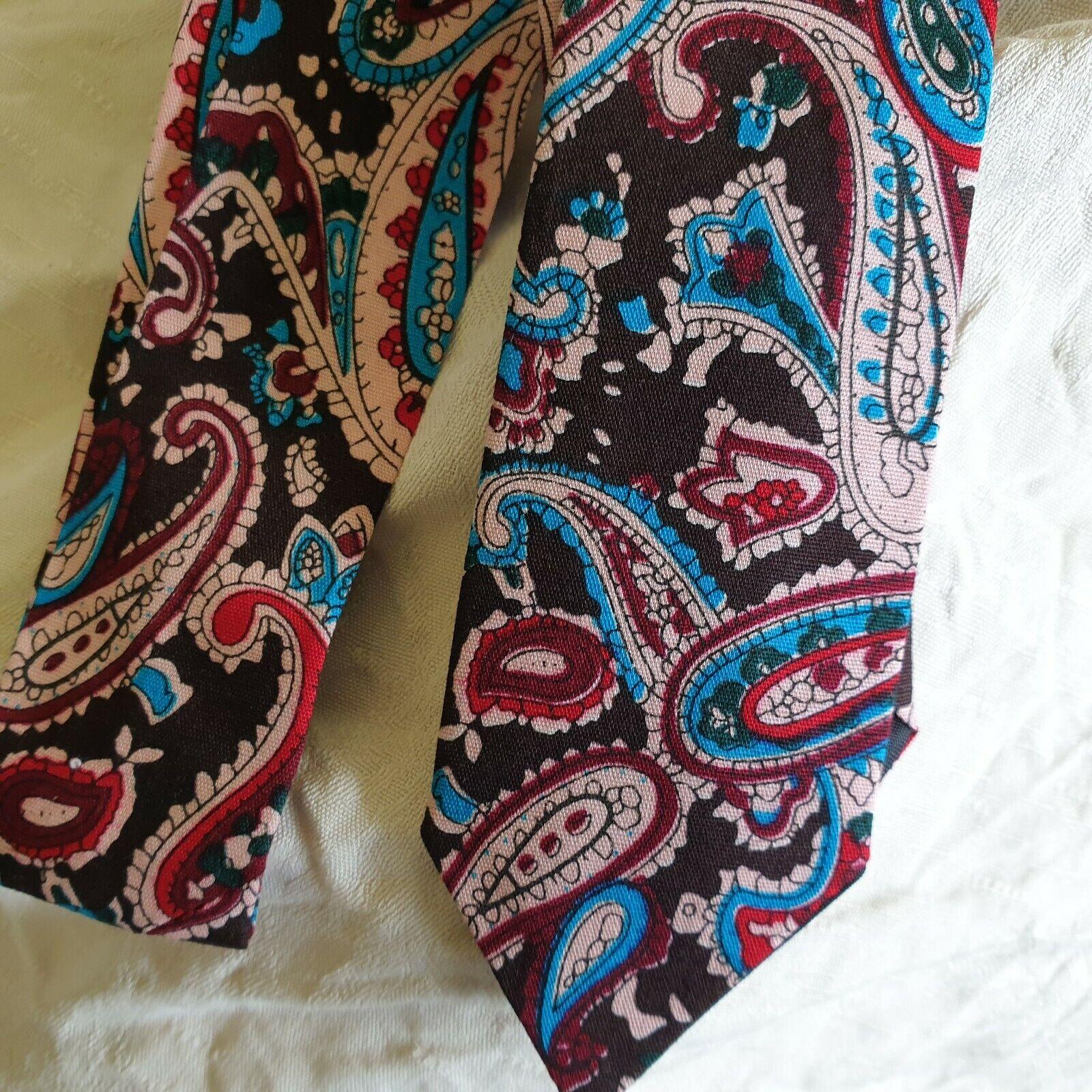 Unisex regenerado Vintage Inspirado Skinny Tie Asos Negro algodón Paisley Turquesa