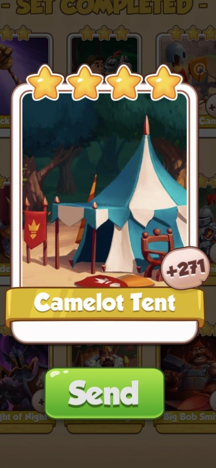 Coin Master Knights, Camelot Tent Card (Fast Sending)