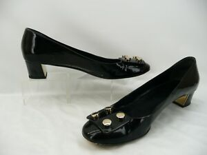 1e5661cb192 Image is loading Gucci-Black-Patent-Leather-Studded-Buckle-Pumps-Heels-
