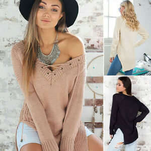 Fashion-Sexy-V-Neck-Women-Loose-Top-Long-Sleeve-Knitted-Pullover-Jumper-Sweater