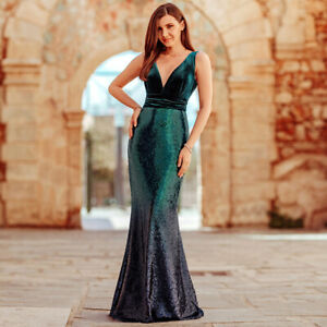 Ever-Pretty-V-neck-Evening-Dress-Long-Sequins-Green-Mermaid-Clubwear-Gown-07767
