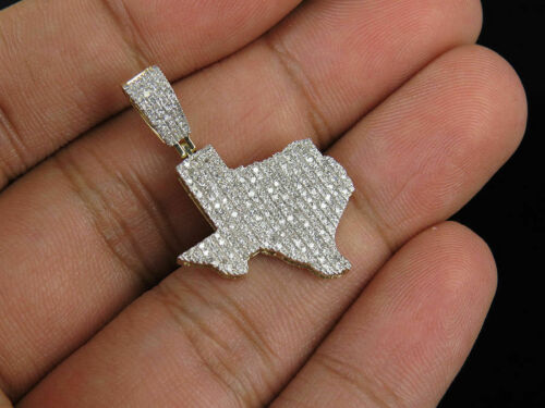 Men/'s 10K Yellow Gold Finish Diamond Texas Map Charm Pendant 1.25 Ct