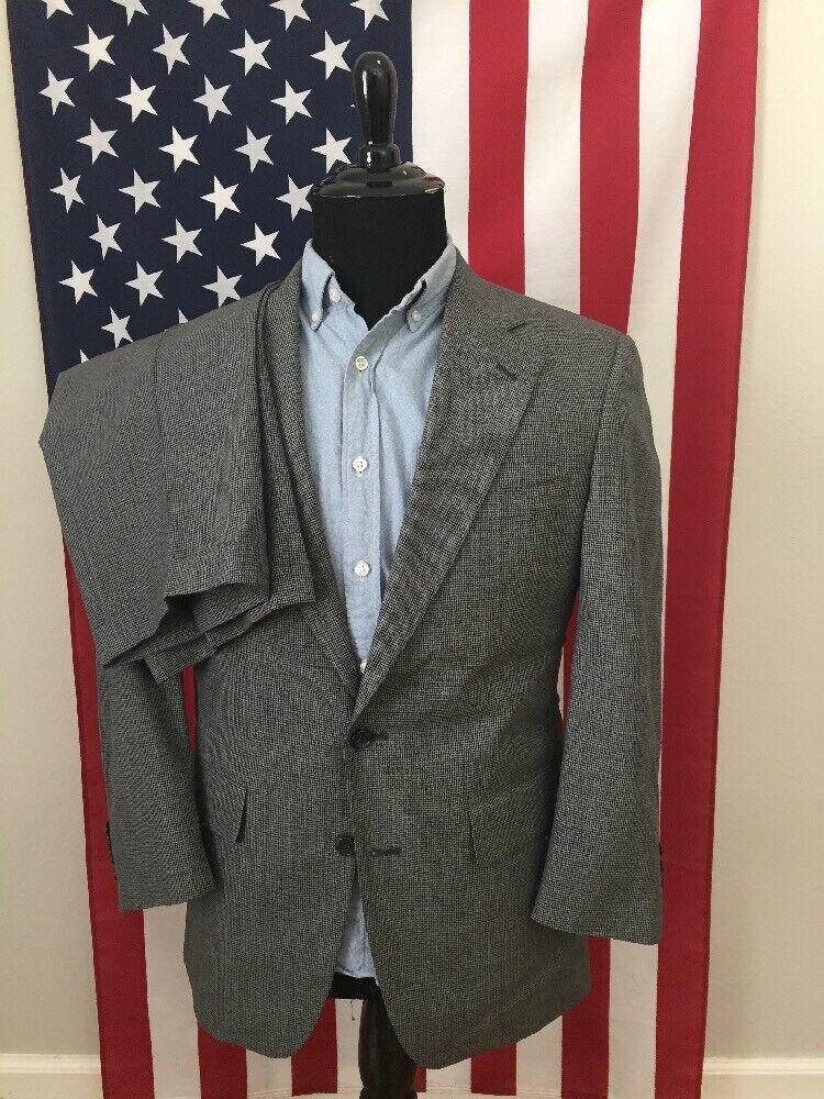 38S Jos A Bank Wool Two Piece Suit 31x29 Pants Grey Houndstooth Blazer Coat 272