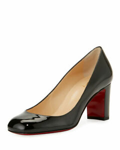 buy online 2f0a0 84cb6 Details about 100% AUTHENTIC NEW WOMEN LOUBOUTIN CADRILLA 70 BLACK PATENT  PUMPS/HEELS US 7