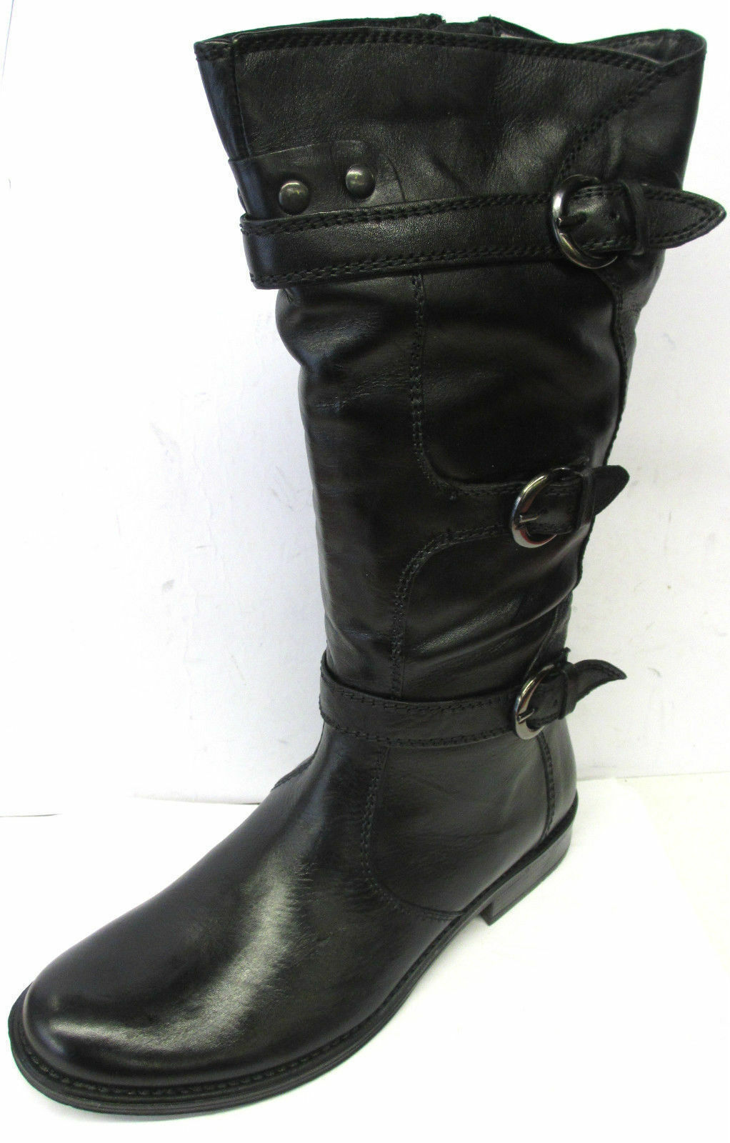 LADIES DAMENSTIEFEL BLACK LEATHER MID CALF BOOTS STYLE S-077