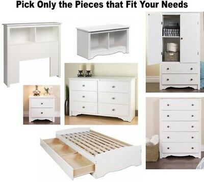 White Bedroom Furniture Dresser Nightstand Chest Dressers 2 5 6 Bed Set  Twin NEW | eBay