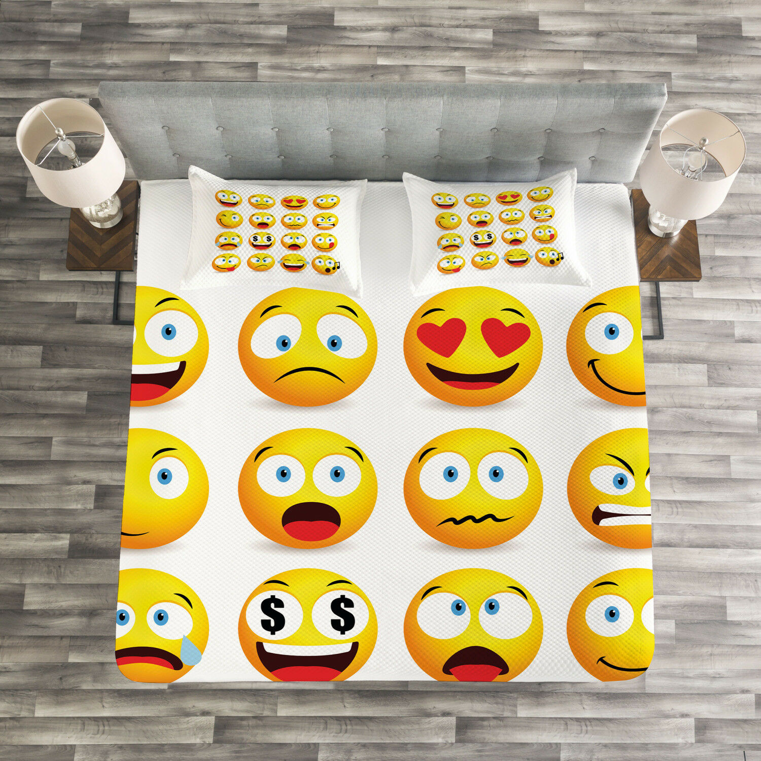 Emoji Quilted Bedspread & Pillow Shams Set, Smiley Faces Composition Print