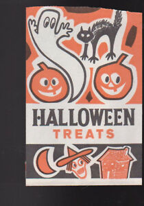 Halloween-Treats-Vintage-Bag-Ghost-Jack-O-039-Lantern-Black-Cat