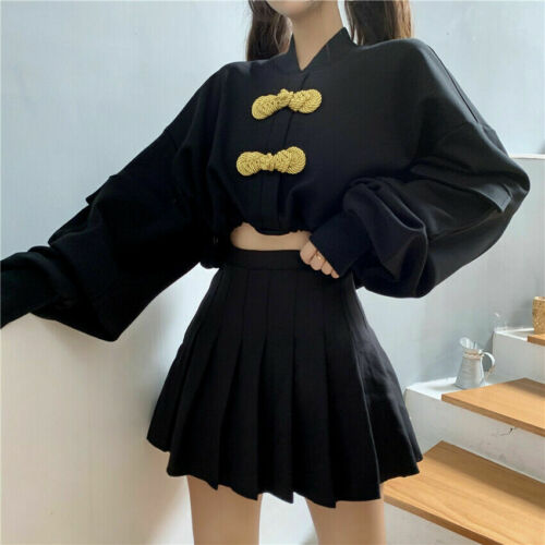 Women Girl Harajuku Coat Pullover Top Short Punk Batwing Chinese Knot Button Red