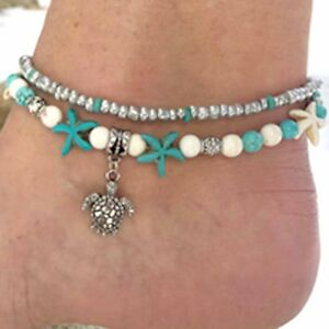 Image Is Loading Ankle Bracelet Turtle Chain Turquoise Beach Foot Bohemian