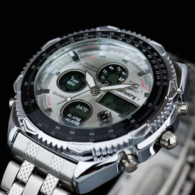 INFANTRY Mens Digital Quartz Wrist Watch Chronograph Alarm Sport Stainless Steel