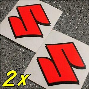 Suzuki S Logo neon Red decals 1000 sticker 1100 gsxr 85 rmz 600 gsxs 750 drz 450