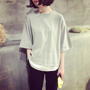 Mujeres-ninas-Coreano-de-Moda-Informal-Mangas-Cortas-Suelta-Blusa-Camiseta-Camiseta-Prendas-para-el