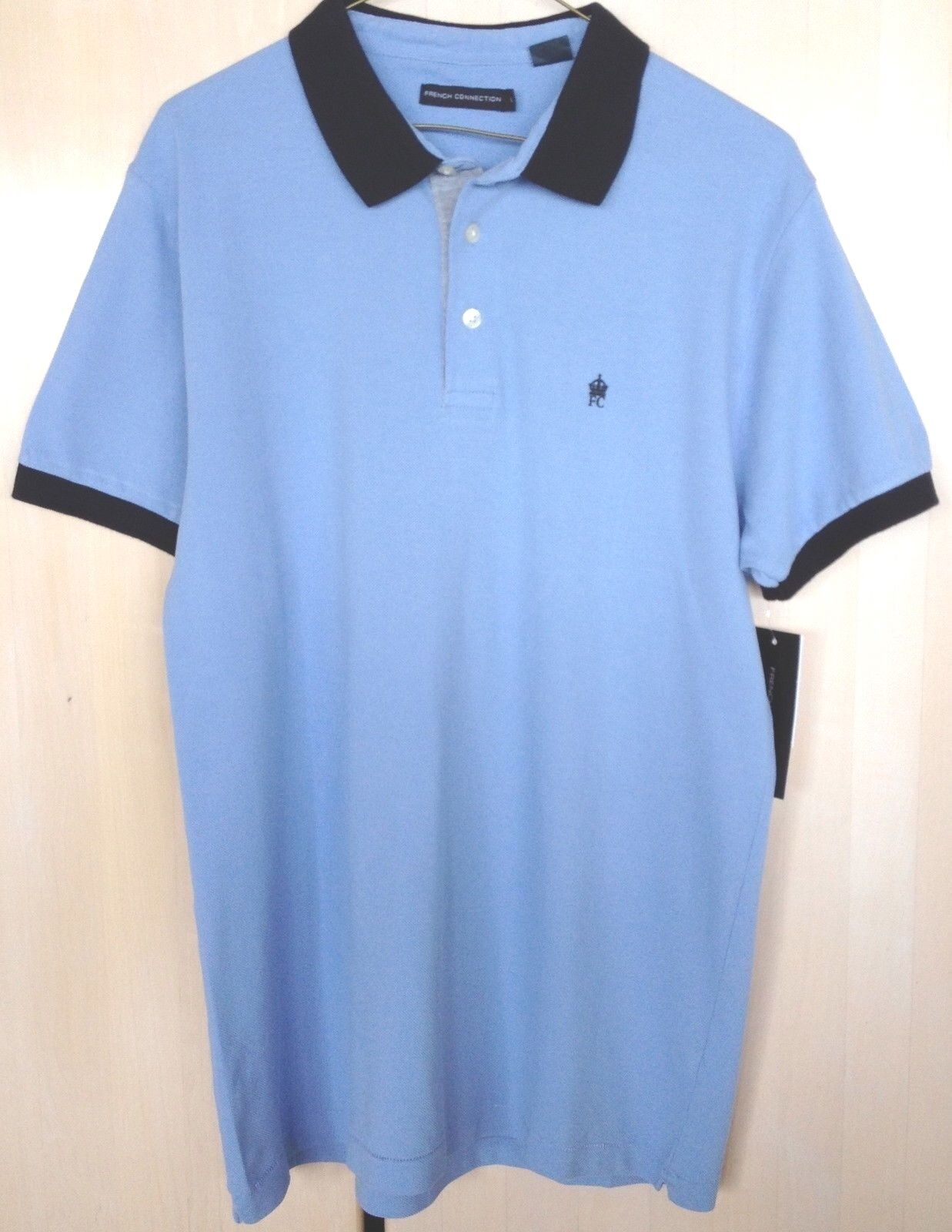 French Connection Polo Shirt Light bluee SS Mesh Cotton Knit Collar 3 button NWTS