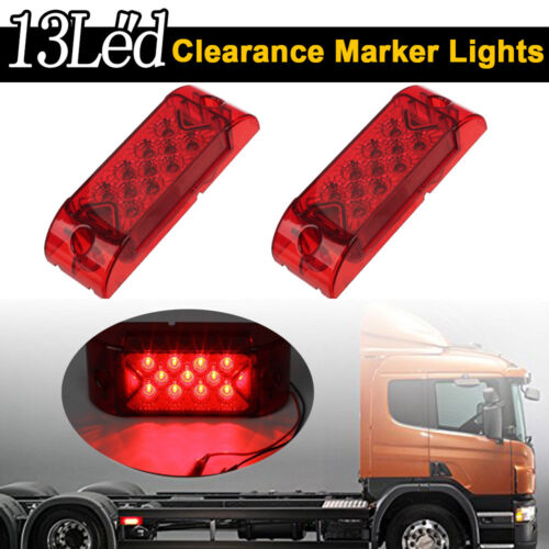 """2x  6/"""" Red Sealed Rectangle Side Clearance Marker Lamp 13Led Truck Trail Light"""