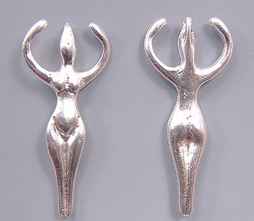 Large Hole Open Arm 2in Long 2 Goddess Pendant Greek  Bright Silver #214