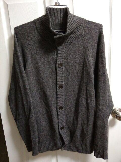 T Harris London Mens XL 100% Himalayan Yak Wool Cardigan w Pockets Gray Sweater