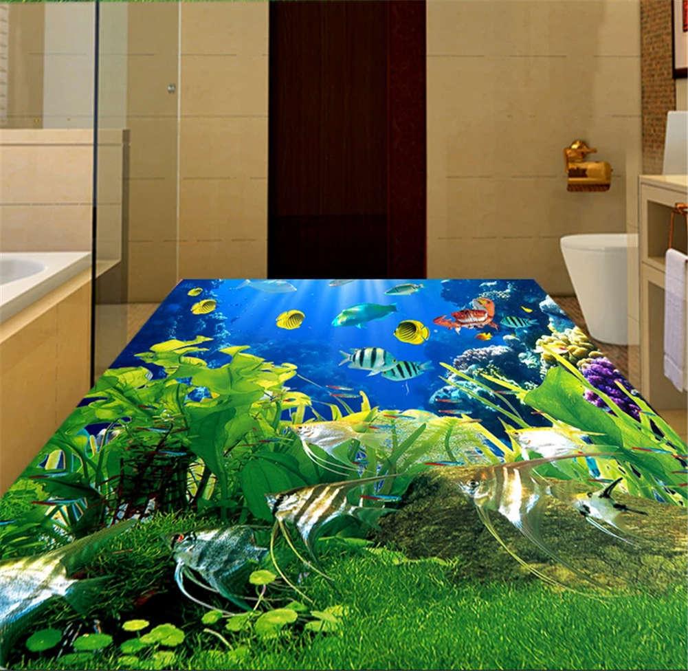 Headlong Cute Fish 3D Floor Mural Photo Flooring Wallpaper Home Print Decoration