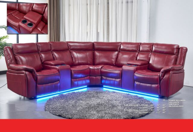 Living Room Red Reclining Power Sectional Sofa w Console USB And LED Lights  Home