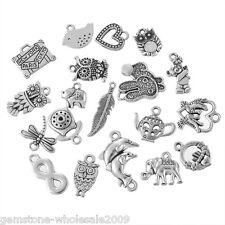 W09 1Set 20Ppcs Mix Zinc Alloy Silver Pendants Kits Metal Pendants Charm Finding