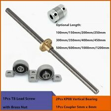 T8 Lead Screw Lead 2mm8mm Length 100 1200mm Trapezoidal Spindle Screw W Nut Kit