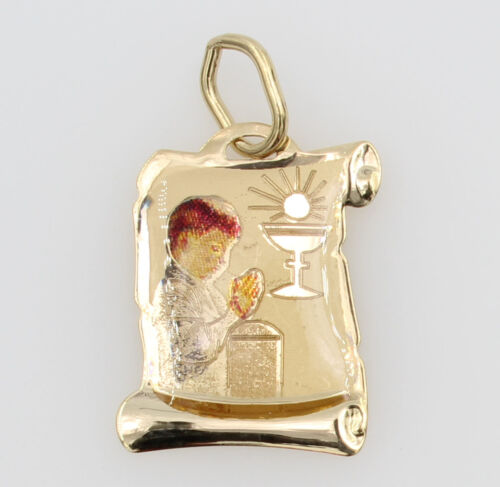 14K Yellow Gold Religious communion Enamel Charm Pendant