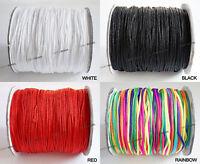 1.5mm Nylon Chinese Knot Cord Shamballa Macrame 150yds - Black White Red Rainbow