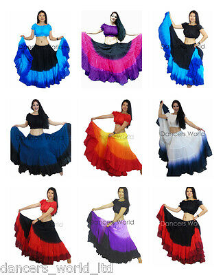 Dancers World 25 Yard Cotton Skirt for Tribal Gypsy Belly Dance Skirts BORDERED