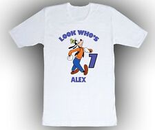 Goofy Personalized Birthday Shirt in White pink or yellow. blue
