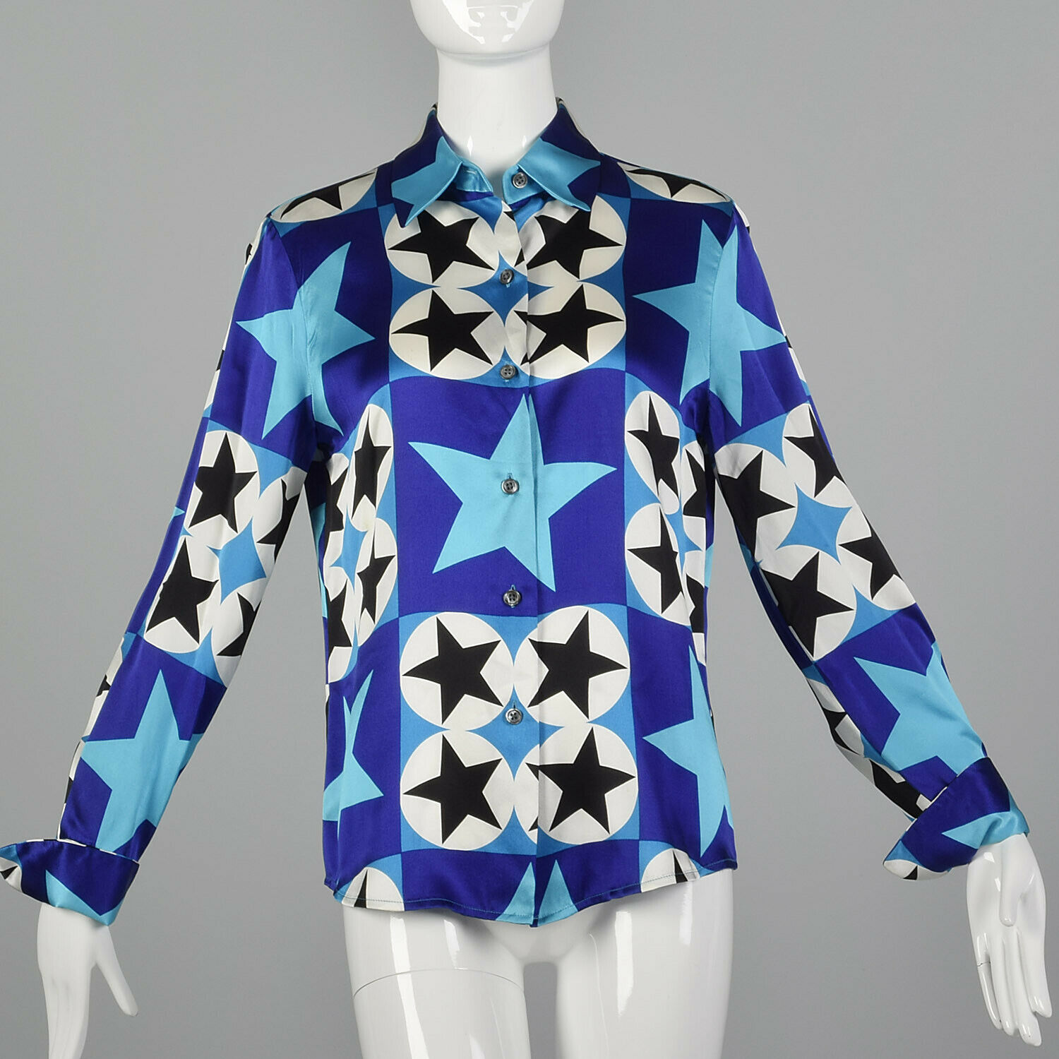 Medium Ellen Tracy 1990s Silk Star Print Blouse Vintage Graphic 90s Designer Top